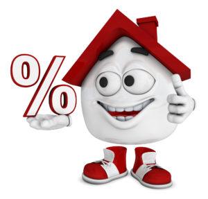 Kleines 3D Haus Rot - Prozent Symbol